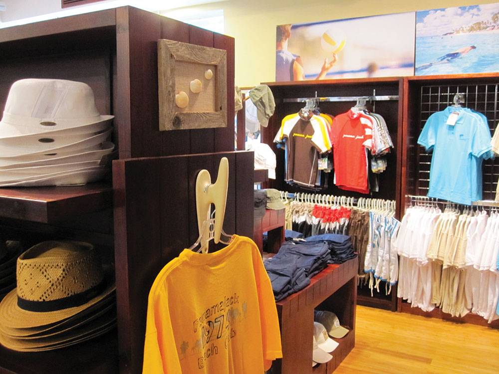 custom fixtures and hand selected merchandising props bring customers into the world of Panama Jack