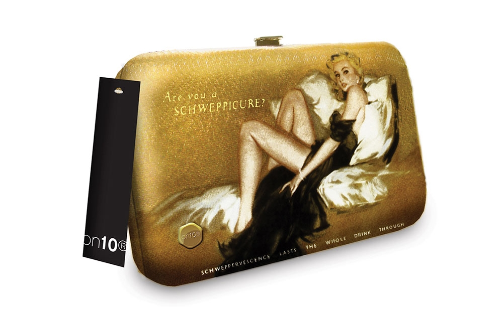 vintage artwork clutch handbag for Schweppes