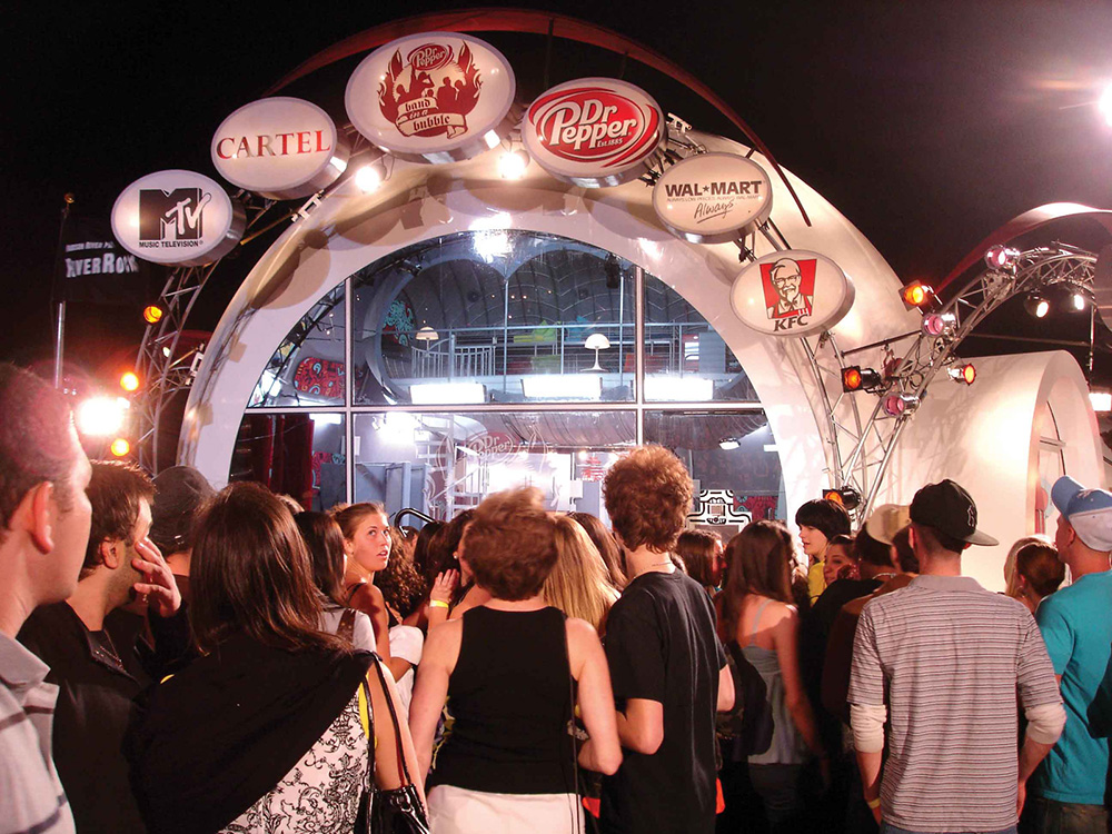 Dr Pepper/MTV Band in a Bubble event at Pier 54 in New York City.