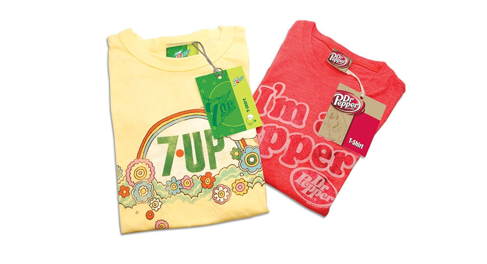 7UP & Dr Pepper vintage product graphics and branded hang tags