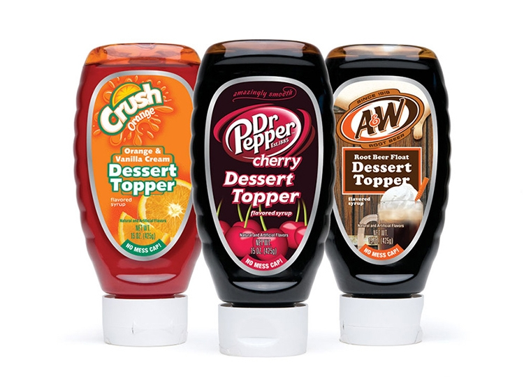 Dessert Topper packaging from flavor favorites - Crush, Dr Pepper and A&W