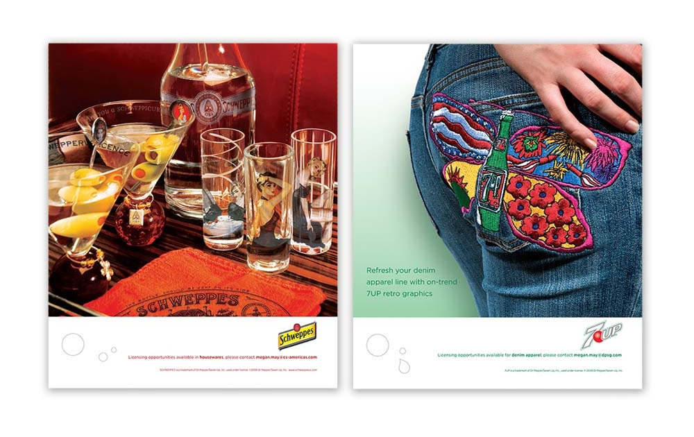 trade advertising campaign showcasing licensing opportunities - Schweppes & 7UP
