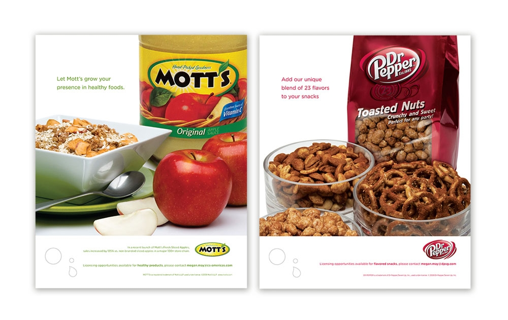 trade advertising campaign showcasing licensing opportunities - Mott's & Dr Pepper