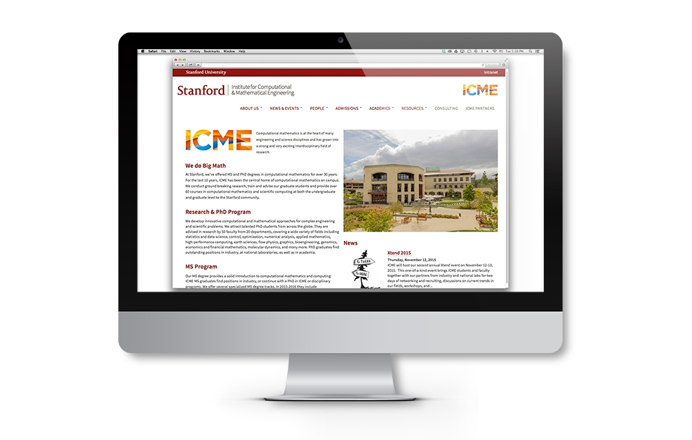 ICME brand identity website application