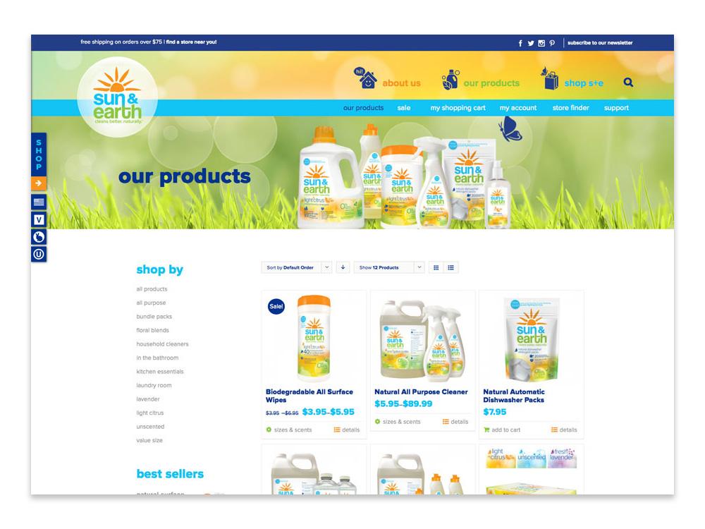 Sun & Earth: Website Shop Page