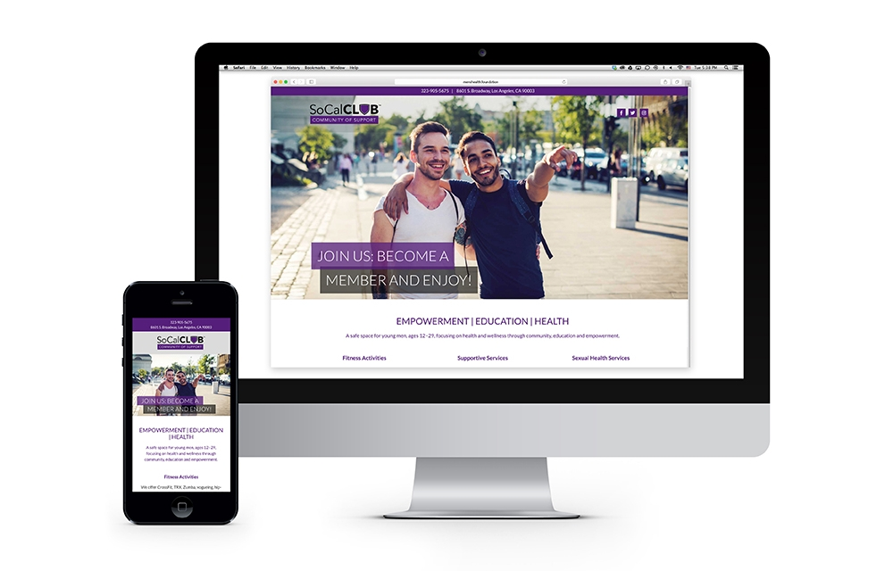 SoCal Club : Design and development of the website builds a web presence and creates a platform for young men to engage with the brand.