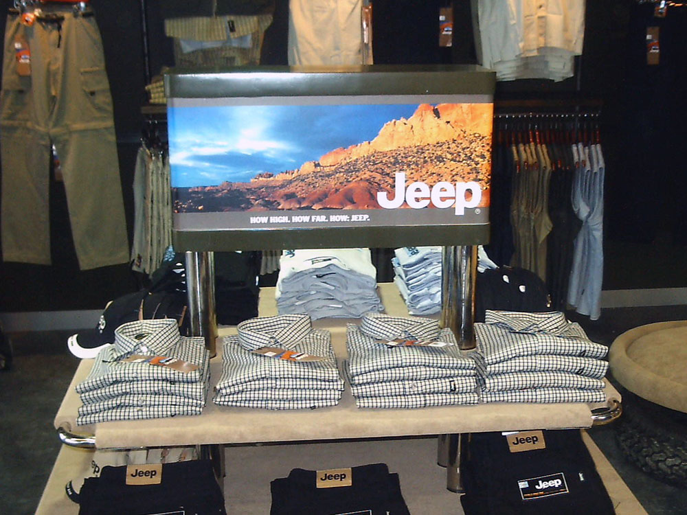 Jeep retail store interior point of sale