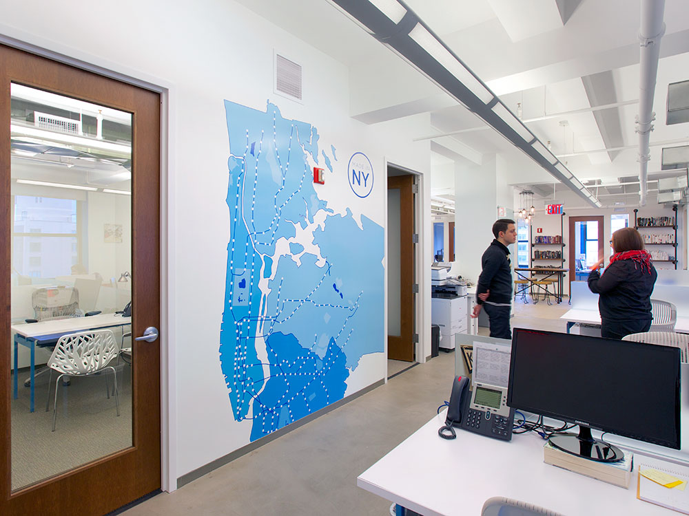 Blue Engine Office Interior Graphics