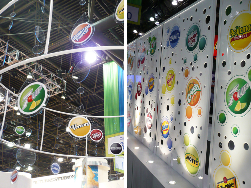Trade show booth bubble display panels and overhead mobile : alternatives : branding and design agency based in nyc
