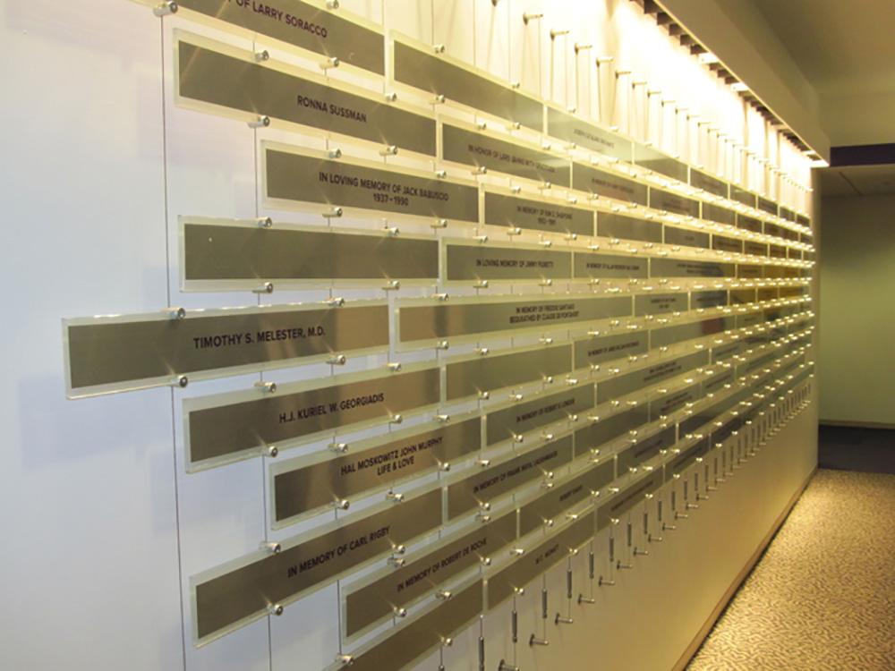 Gay Men's Health Crisis (GMHC) donor commemorative wall