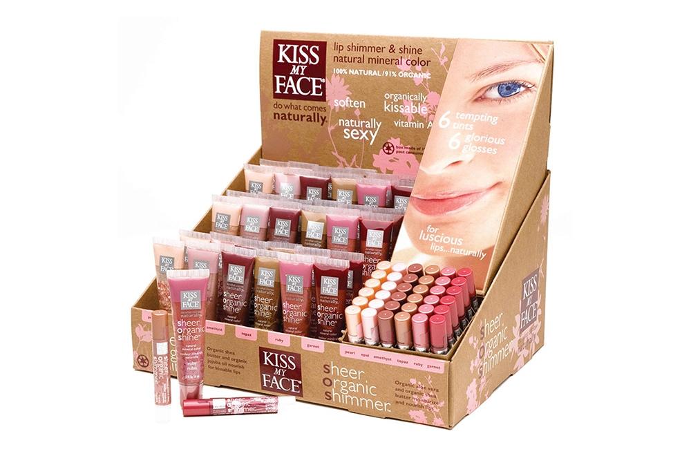 Kiss My Face Sheer Organic Lip Shimmers & Shines Counter Display is a natural beauty.