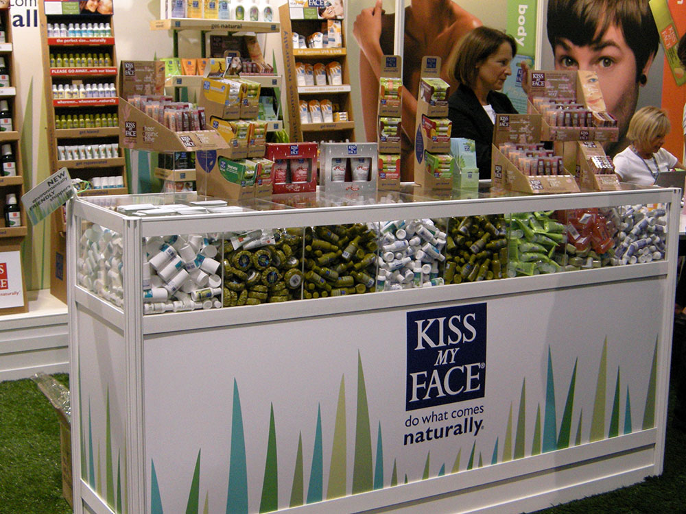Kiss My Face trade show booth product sample counter