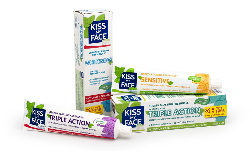 Kiss My Face Toothpaste Tubes and Cartons