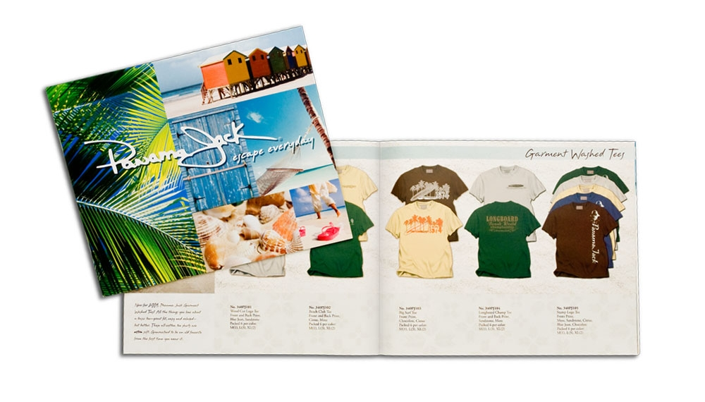The Panama Jack catalog combines the lush, tropical brand attitude with their range of products and merchandising options available to buyers.