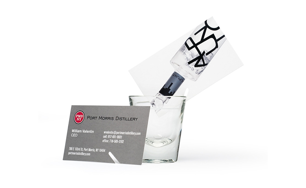 Port Morris Distillery business card becomes a promotional vehicle at tasting events