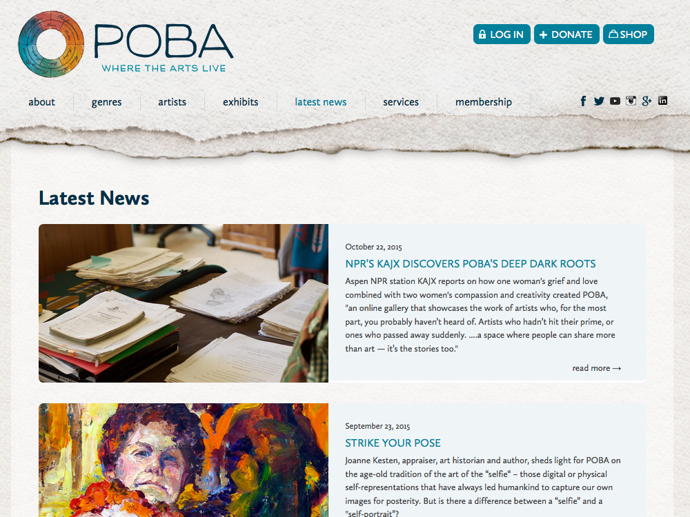 POBA blog web page
