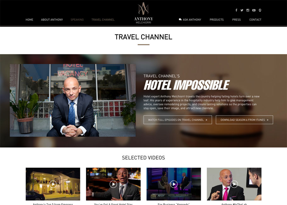Anthony Melchiorri Travel Channel Page