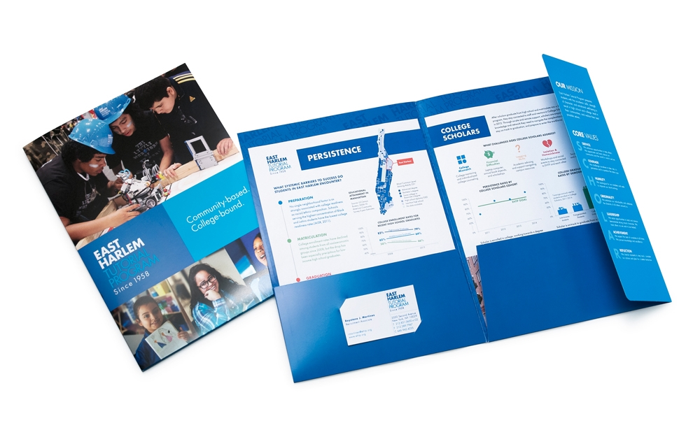 Presentation folder featuring the organization's mission and core values