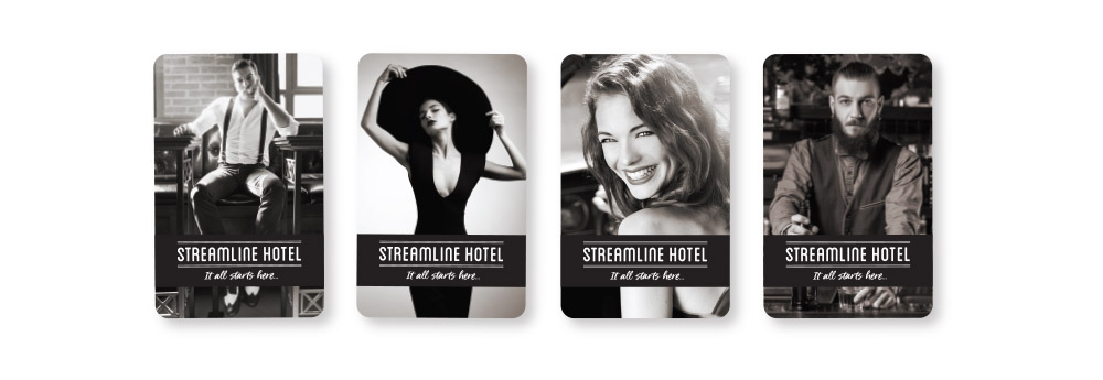 Hotel key cards showcase a variety of images and can be customized for special events