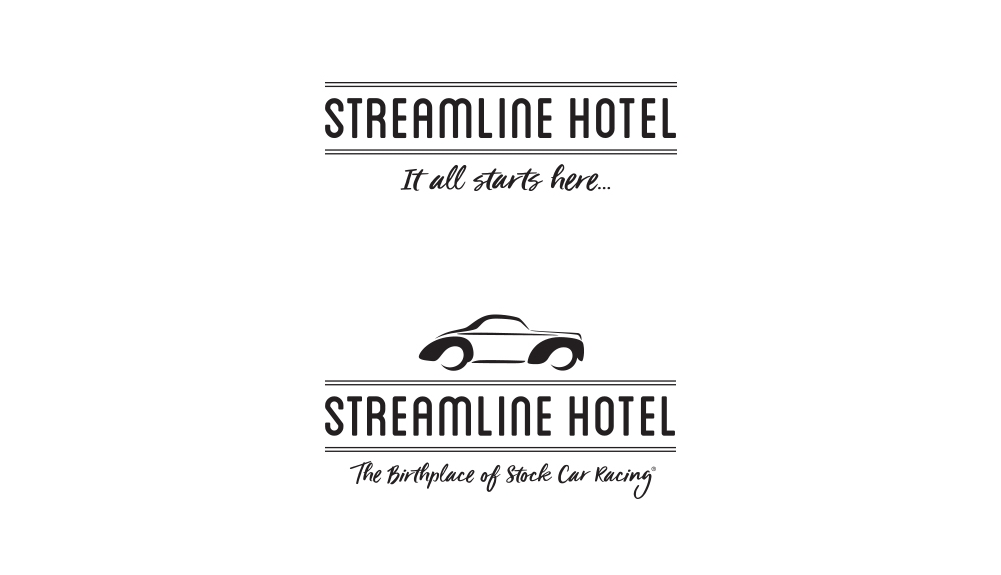 "Brand identity refresh and tagline ""It all starts here"" communicate not only the hotels status as the ""Birthplace of Stock Car Racing"" but the invitation to guests to create new beginnings and make a stay at the Streamline a part of their own personal story."
