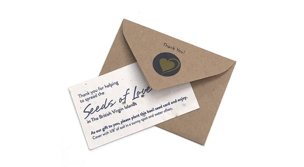 Donation thank you card printed on seed paper